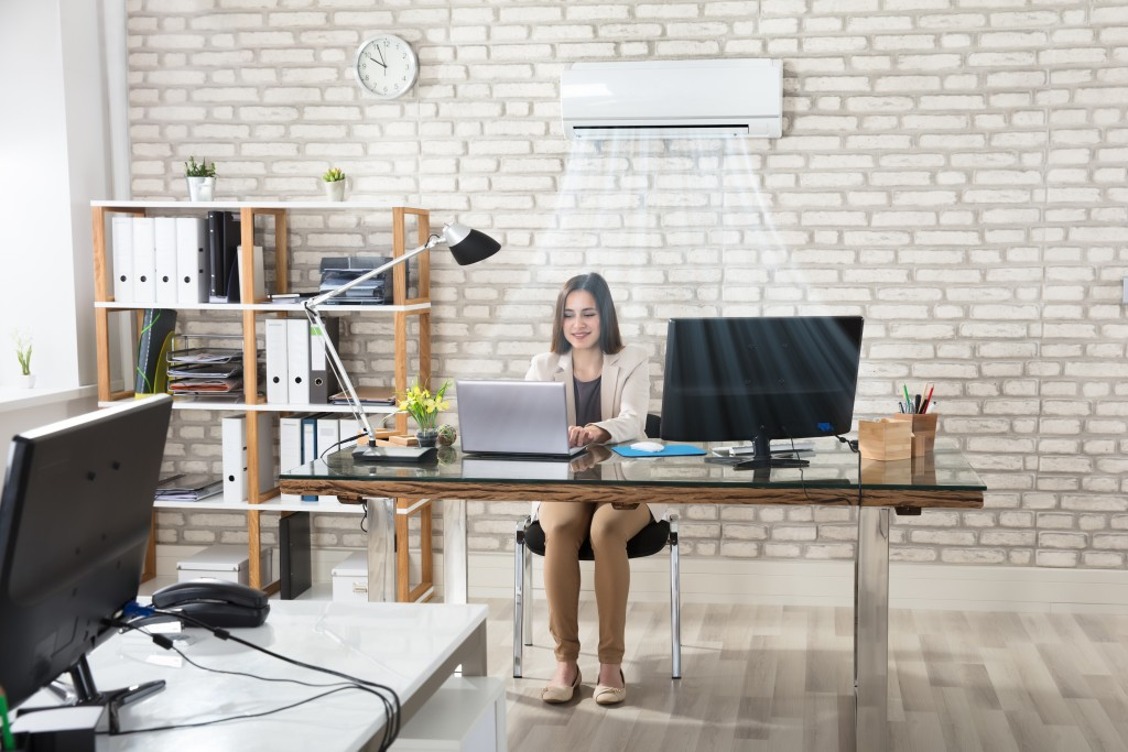 Businesswoman Working In Office With Air Conditioning